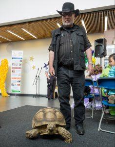 dozer the tortoise & Gary his handler