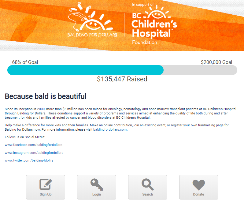 Balding for dollars fundraising home page screenshot