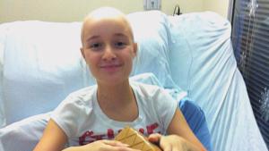 madeline lauener bald in hospital bed